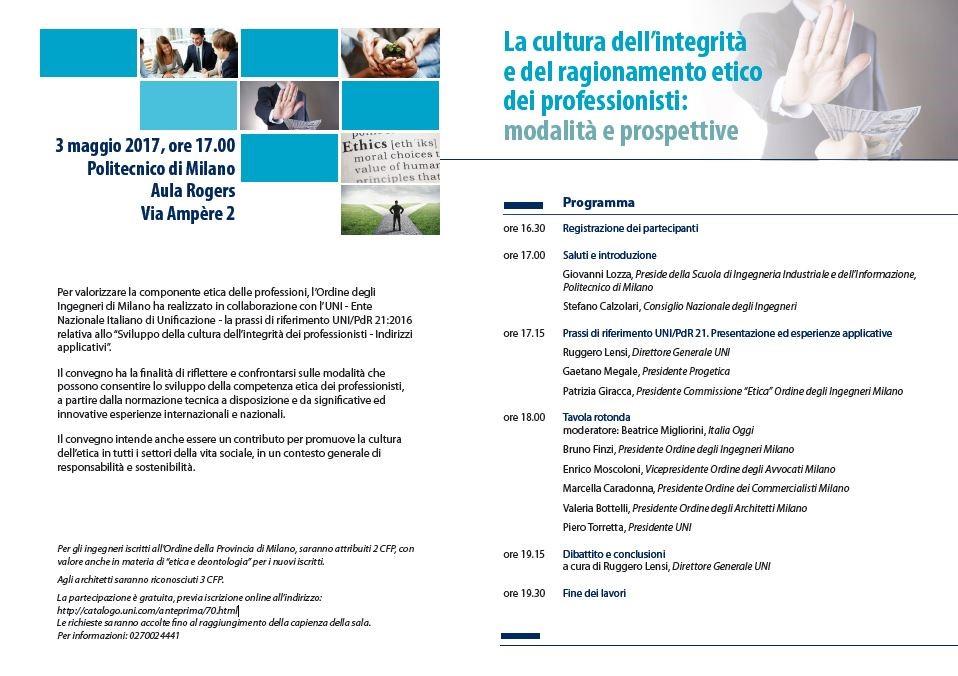 A milano si promuove la cultura dell'etica - Programma